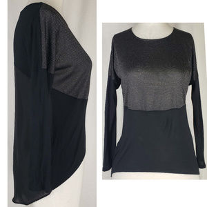 Jennifer Lopez lurex & zipper detail high low top